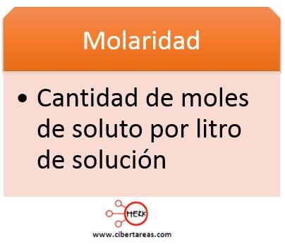 concepto de molaridad definicion molaridad