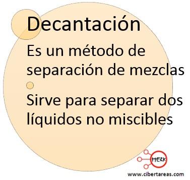 definicion de decantacion quimica