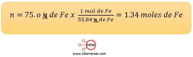 ejemplo del calcuilo de la cantidad de moles quimica