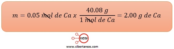 ejemplo del calculo de la cantidad de moles quimica 3