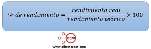 formula para determinar el porcentaje de rendimiento quimica