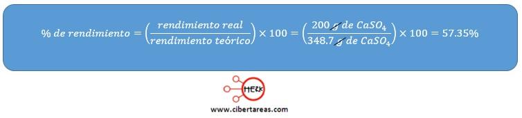 formula para determinar el porcentaje de rendimiento