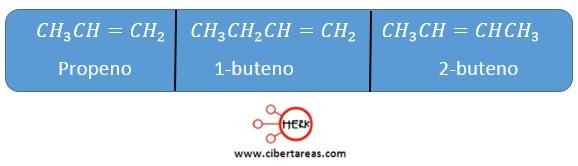 alquenos propeno buteno buteno formula
