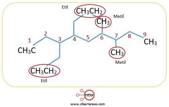 ejemplo de nomenclatura de los alcanos quimica