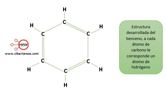 estructura desarrollada del benceno