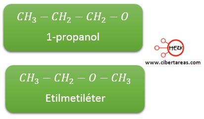 estructura propiedades 1-propanol etilmetileter