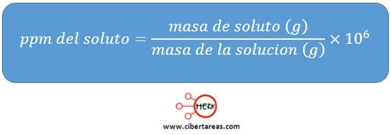 formula para calcular la concentracion en ppm