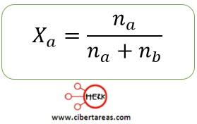 formula para el calculo de la fraccion molar
