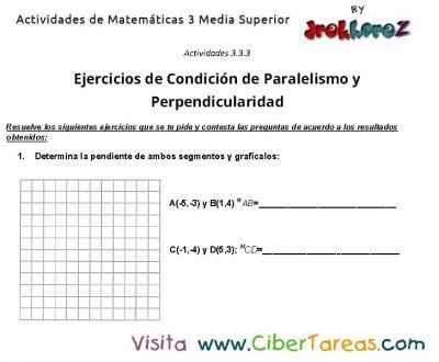 Captura de Ejercicios de Condicion de Paralelismo y Perpendicularidad -actividades de matematicas 3 media superior