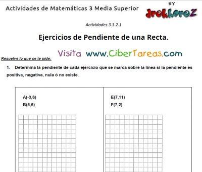 captura de ejercicios de pendiente de una recta actividades de matematicas 3 media superior 2
