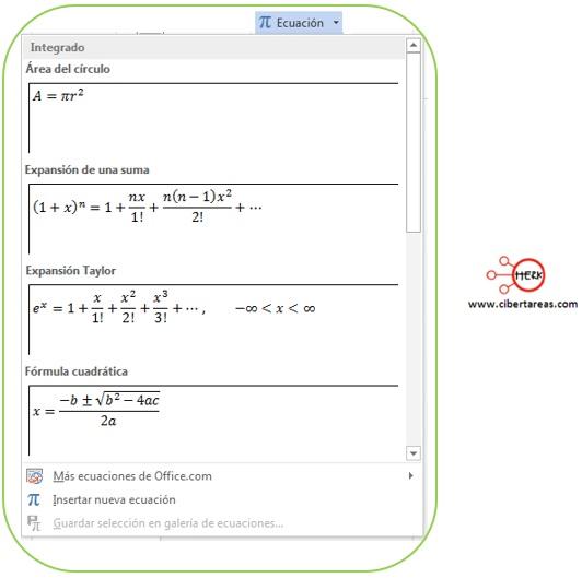 Insertar ecuaciones en Word 2013 – Resguardar la información y elaboración de documentos electrónicos 1