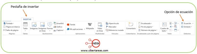 Insertar ecuaciones en Word 2013 – Resguardar la información y elaboración de documentos electrónicos 0
