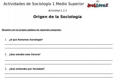 Actividades para contestar sobre el Origen – Sociología 1 0