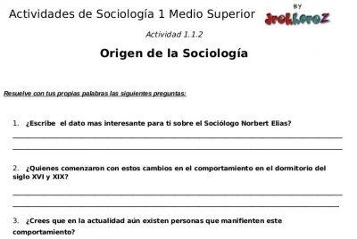 Actividades para contestar sobre el Origen – Sociología 1 1