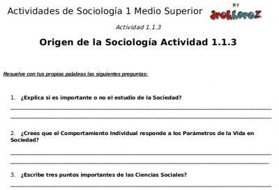 Actividades para contestar sobre el Origen – Sociología 1 2