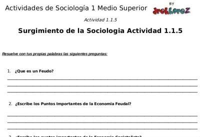 Actividades y Cuestionarios sobre del Surgimiento – Sociología 1 0