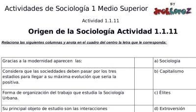 Actividades Crucigrama, Sopa de Letras del Origen y Surgimiento – Sociología 1 1