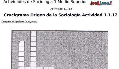 Actividades Crucigrama, Sopa de Letras del Origen y Surgimiento – Sociología 1 2