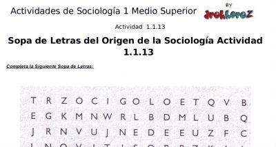 Actividades Crucigrama, Sopa de Letras del Origen y Surgimiento – Sociología 1 3