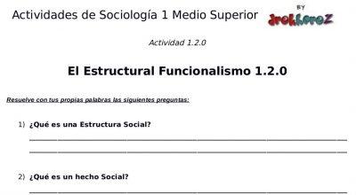 Actividades del Estructural Funcionalismo – Sociología 1 0