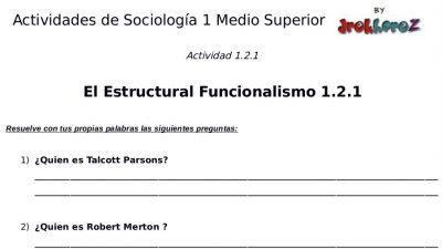 Actividades del Estructural Funcionalismo – Sociología 1 1