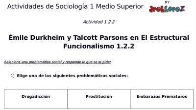 Actividades del Estructural Funcionalismo – Sociología 1 2