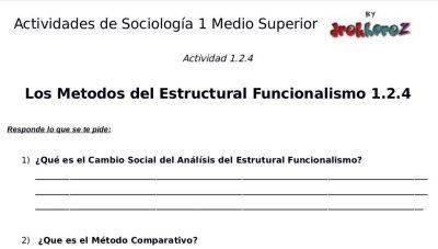 Actividades del Estructural Funcionalismo – Sociología 1 4