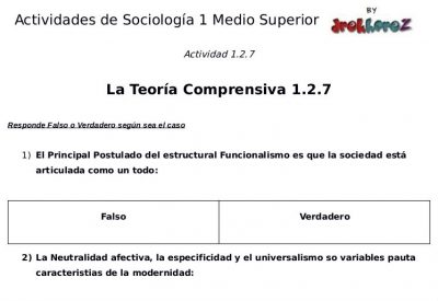 Actividades de la Teoría Comprensiva  – Sociología 1 2