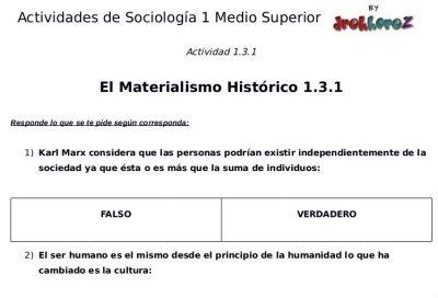 Actividades del Materialismo Histórico  – Sociología 1 1