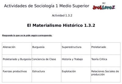 Actividades del Materialismo Histórico  – Sociología 1 2