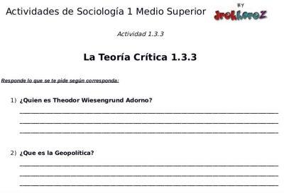 Actividades de la Teoría Crítica – Sociología 1 0