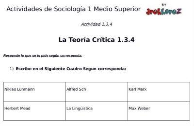 Actividades de la Teoría Crítica – Sociología 1 1