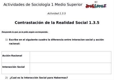 Actividades de la Contrastación de la Realidad Social – Sociología 1 0
