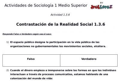 Actividades de la Contrastación de la Realidad Social – Sociología 1 1