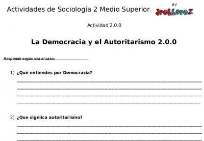 Actividades de la Democracia y el Autoritarismo – Sociología 2 0