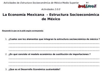 Actividades de la Economía Mexicana – Estructura Socioeconómica de México 1 0