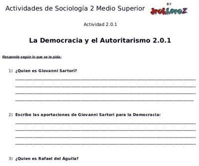 Actividades de la Democracia y el Autoritarismo – Sociología 2 1