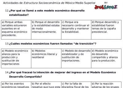 Actividades de los Modelos Económicos – Estructura Socioeconómica de México 1 0