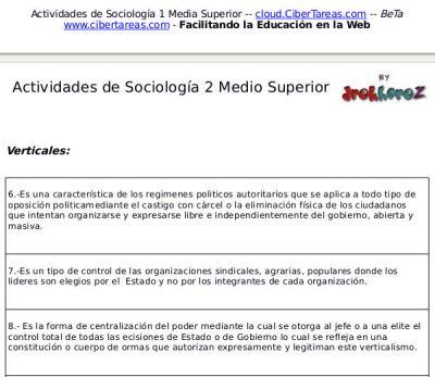Actividad Crucigrama de la Democracia y el Autoritarismo – Sociología 2 0