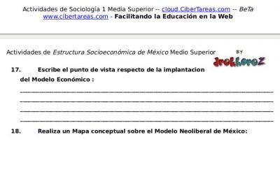 Actividades de los Modelos Económicos – Estructura Socioeconómica de México 1 1