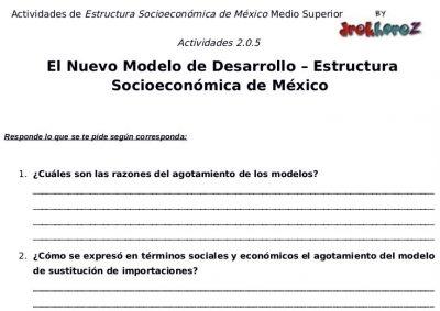 Actividades del Nuevo Modelo de Desarrollo – Estructura Socioeconómica de México 1 1