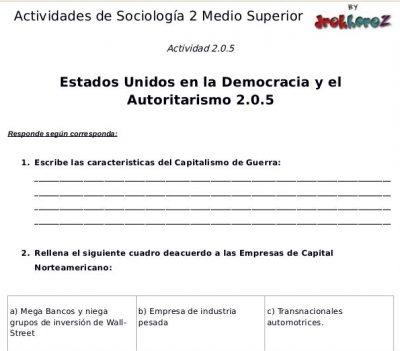 Actividades de los Estados Unidos en la Democracia y el Autoritarismo – Sociología 2 1