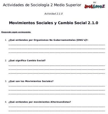 Actividad de los Movimientos Sociales y Cambio Social – Sociología 2 0
