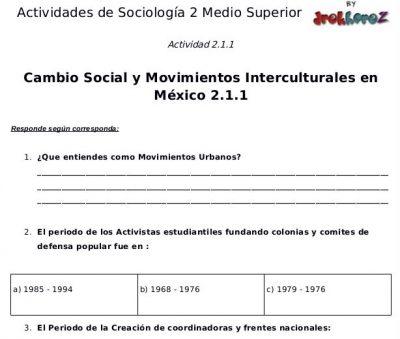 Actividades del Cambio Social y Movimientos Interculturales en México – Sociología 2 0