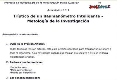 Tríptico de un Baumanómetro Inteligente 2.0.3 – Metología de la Investigación 0