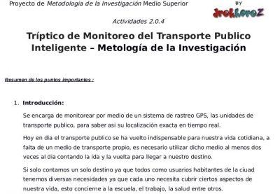 Tríptico del Monitoreo del Transporte Público Inteligente 2.0.4 – Metología de la Investigación 0