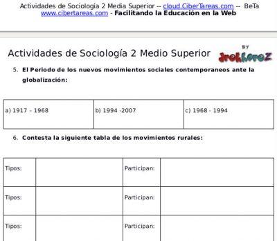 Actividades del Cambio Social y Movimientos Interculturales en México – Sociología 2 1