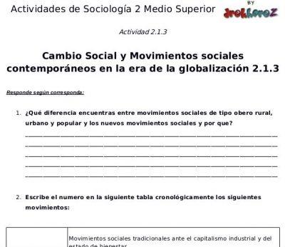 Actividades del Cambio Social y Movimientos Sociales Contemporáneos en la era de la globalización en México – Sociología 2 0