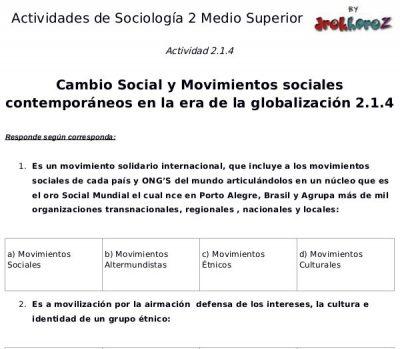 Actividades del Cambio Social y Movimientos Sociales Contemporáneos en la era de la globalización en México – Sociología 2 1