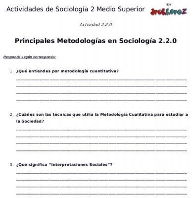 Actividades de las Principales Metodologías en Sociología primera parte- Sociología 2 0
